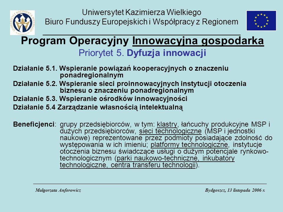 Uniwersytet Kazimierza Wielkiego Biuro Funduszy Europejskich i Współpracy z Regionem _____________________________________________ Program Operacyjny Innowacyjna gospodarka Priorytet 5.