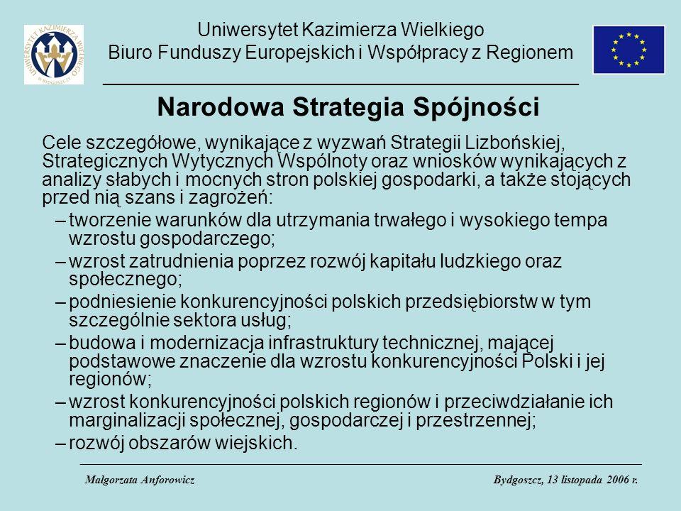 Uniwersytet Kazimierza Wielkiego Biuro Funduszy Europejskich i Współpracy z Regionem _____________________________________________ Narodowa Strategia Spójności Cele szczegółowe, wynikające z wyzwań Strategii Lizbońskiej, Strategicznych Wytycznych Wspólnoty oraz wniosków wynikających z analizy słabych i mocnych stron polskiej gospodarki, a także stojących przed nią szans i zagrożeń: –tworzenie warunków dla utrzymania trwałego i wysokiego tempa wzrostu gospodarczego; –wzrost zatrudnienia poprzez rozwój kapitału ludzkiego oraz społecznego; –podniesienie konkurencyjności polskich przedsiębiorstw w tym szczególnie sektora usług; –budowa i modernizacja infrastruktury technicznej, mającej podstawowe znaczenie dla wzrostu konkurencyjności Polski i jej regionów; –wzrost konkurencyjności polskich regionów i przeciwdziałanie ich marginalizacji społecznej, gospodarczej i przestrzennej; –rozwój obszarów wiejskich.