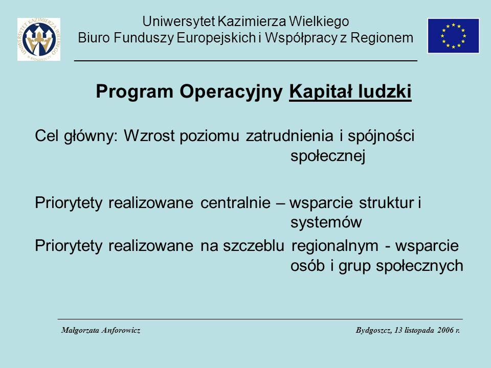 Uniwersytet Kazimierza Wielkiego Biuro Funduszy Europejskich i Współpracy z Regionem _____________________________________________ Program Operacyjny Kapitał ludzki Cel główny: Wzrost poziomu zatrudnienia i spójności społecznej Priorytety realizowane centralnie – wsparcie struktur i systemów Priorytety realizowane na szczeblu regionalnym - wsparcie osób i grup społecznych ___________________________________________________________________________________________________ Małgorzata AnforowiczBydgoszcz, 13 listopada 2006 r.