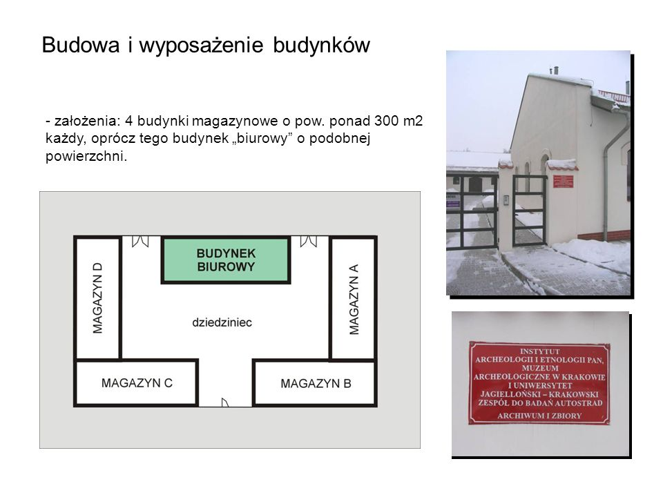 Budowa i wyposażenie budynków - założenia: 4 budynki magazynowe o pow. ponad 300 m2 każdy, oprócz tego budynek biurowy o podobnej powierzchni.