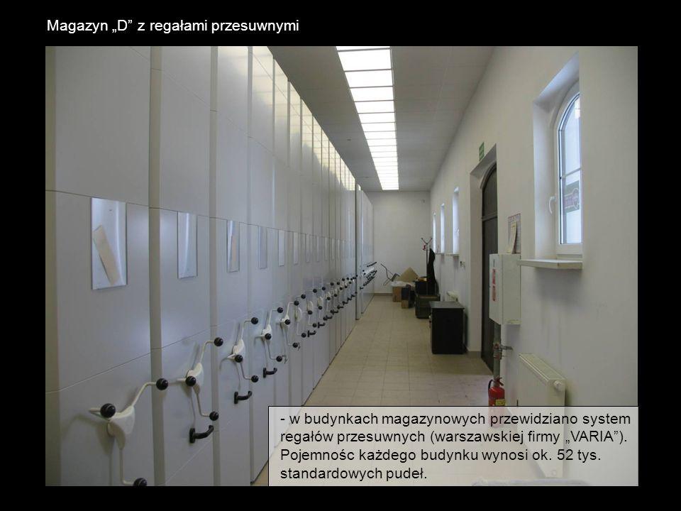 Magazyn D z regałami przesuwnymi - w budynkach magazynowych przewidziano system regałów przesuwnych (warszawskiej firmy VARIA). Pojemnośc każdego budy