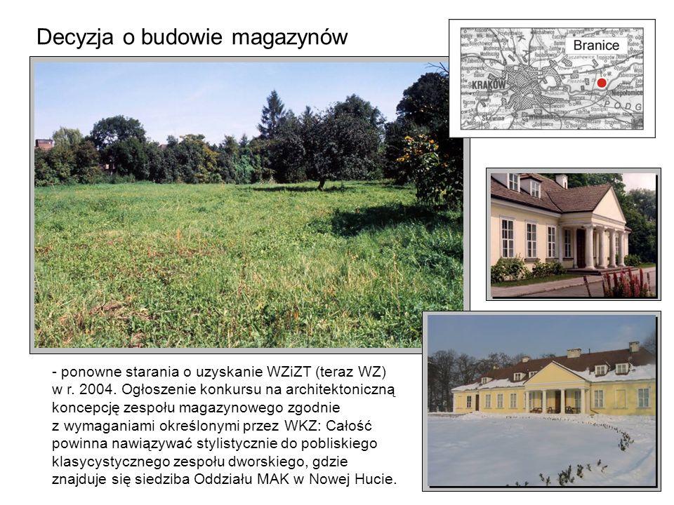 Decyzja o budowie magazynów - ponowne starania o uzyskanie WZiZT (teraz WZ) w r. 2004. Ogłoszenie konkursu na architektoniczną koncepcję zespołu magaz