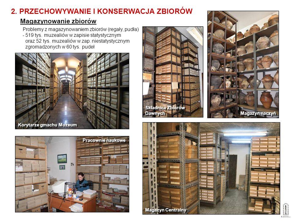Magazynowanie zbiorów Problemy z magazynowaniem zbiorów (regały, pudła) - 519 tys. muzealiów w zapisie statystycznym oraz 52 tys. muzealiów w zap. nie