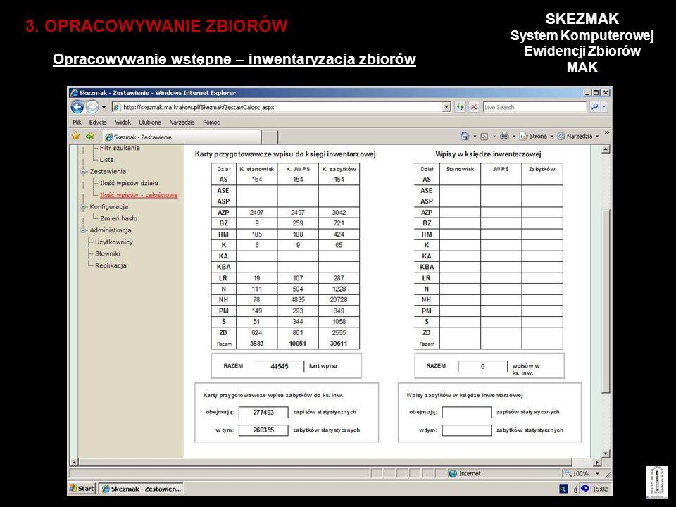 Opracowywanie wstępne – inwentaryzacja zbiorów 3. OPRACOWYWANIE ZBIORÓW SKEZMAK System Komputerowej Ewidencji Zbiorów MAK
