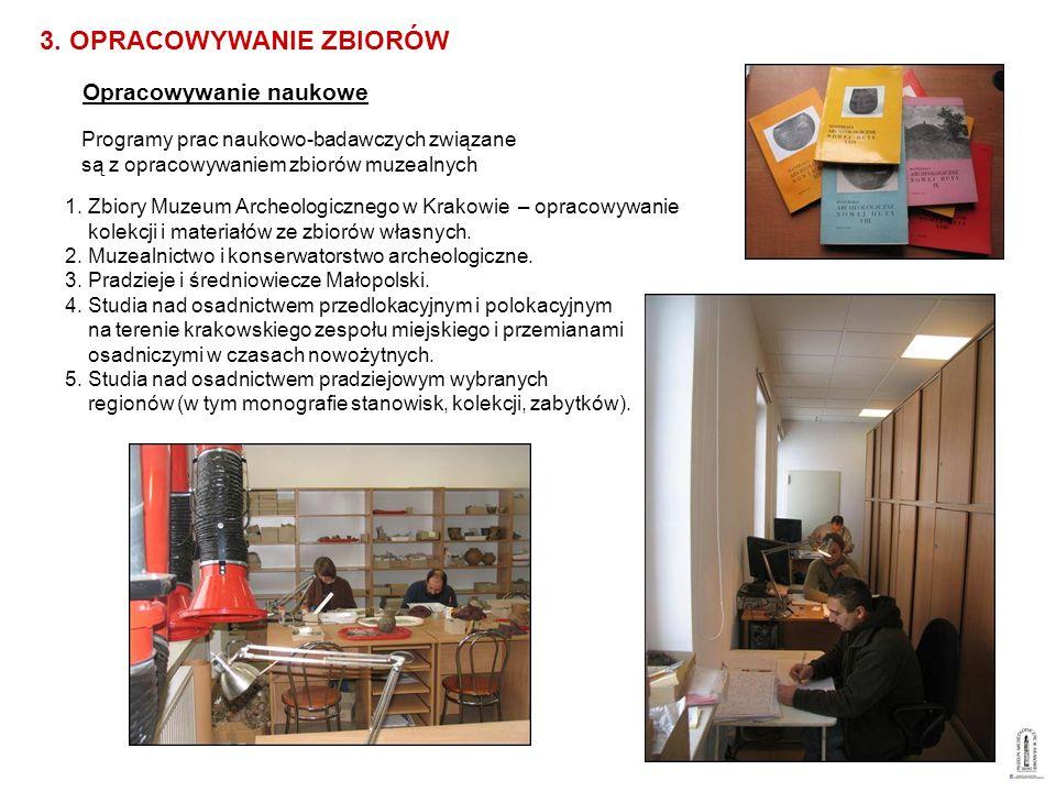 Opracowywanie naukowe 3. OPRACOWYWANIE ZBIORÓW Programy prac naukowo-badawczych związane są z opracowywaniem zbiorów muzealnych 1. Zbiory Muzeum Arche