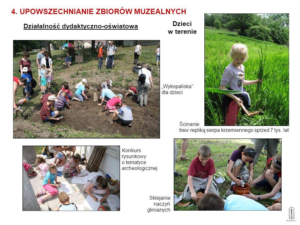 Działalność dydaktyczno-oświatowa 4. UPOWSZECHNIANIE ZBIORÓW MUZEALNYCH Wykopaliska dla dzieci Konkurs rysunkowy o tematyce archeologicznej Sklejanie