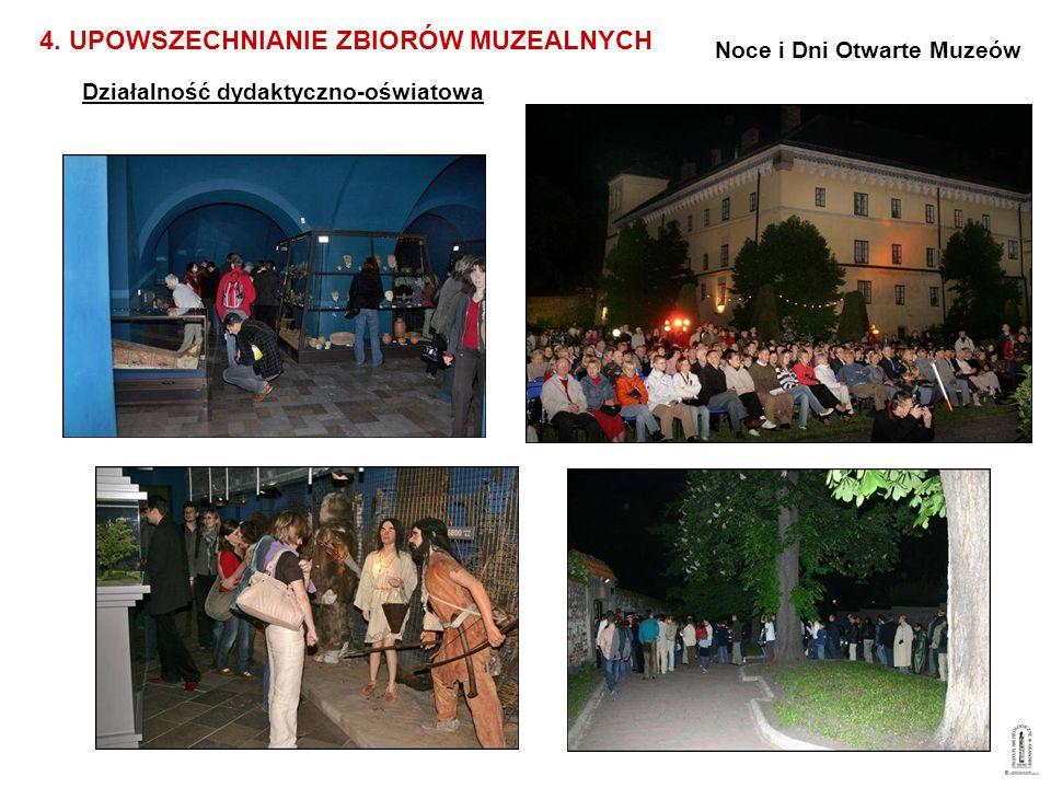 Działalność dydaktyczno-oświatowa 4. UPOWSZECHNIANIE ZBIORÓW MUZEALNYCH Noce i Dni Otwarte Muzeów