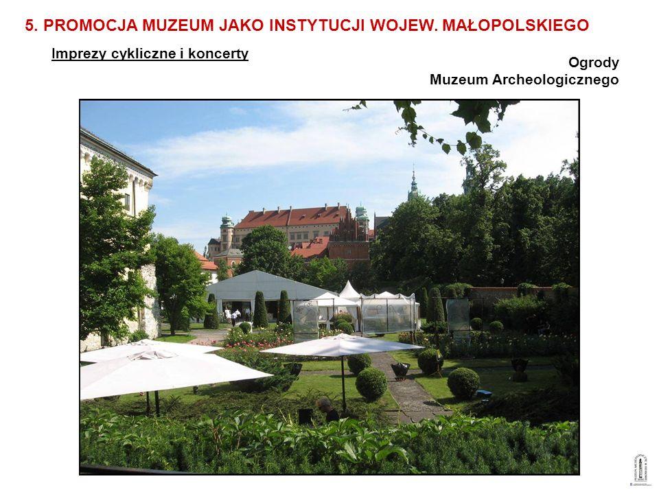 Ogrody Muzeum Archeologicznego Imprezy cykliczne i koncerty 5. PROMOCJA MUZEUM JAKO INSTYTUCJI WOJEW. MAŁOPOLSKIEGO