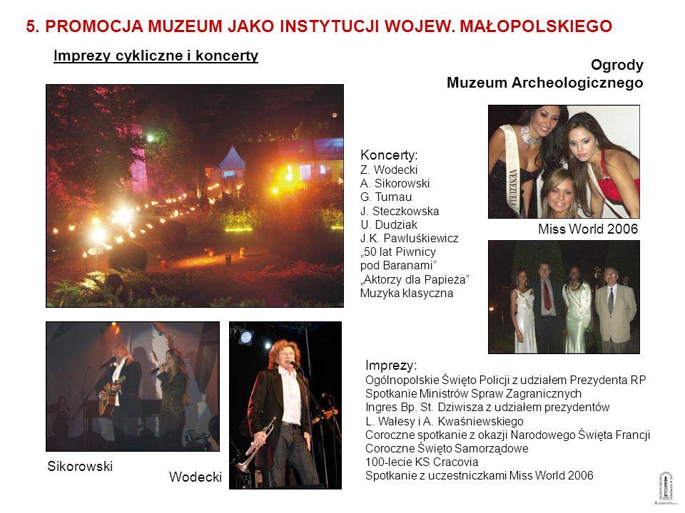 Imprezy cykliczne i koncerty 5. PROMOCJA MUZEUM JAKO INSTYTUCJI WOJEW. MAŁOPOLSKIEGO Ogrody Muzeum Archeologicznego Sikorowski Wodecki Miss World 2006
