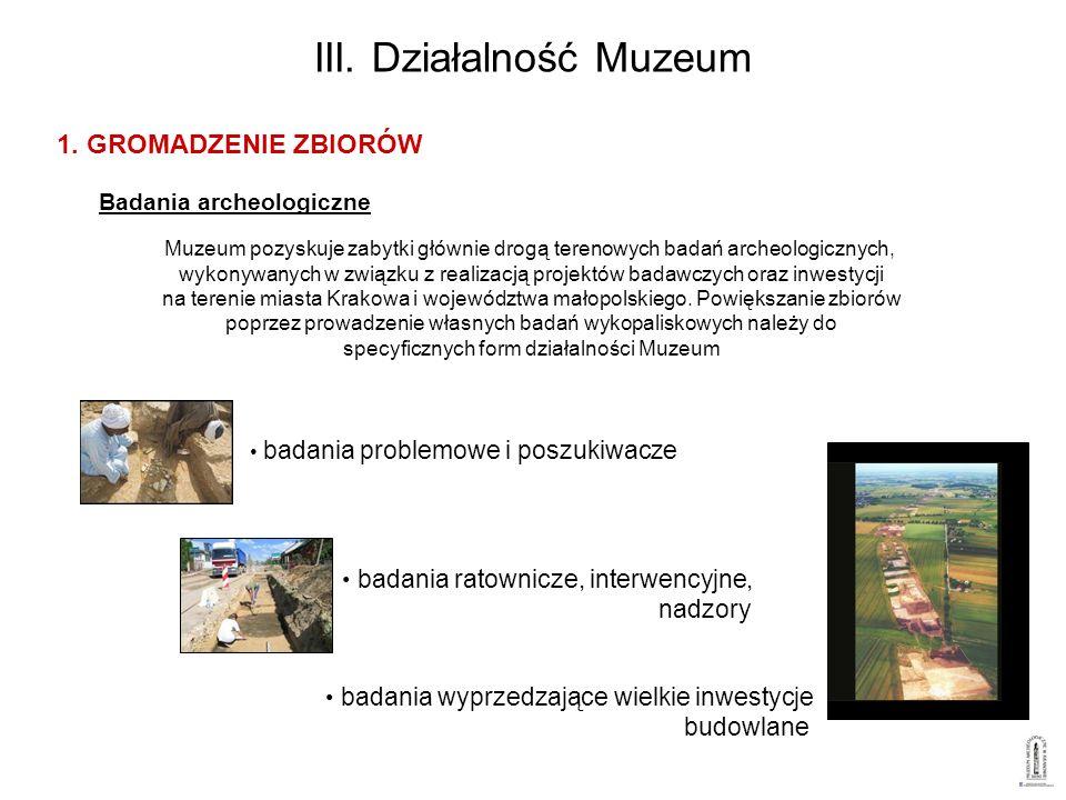 III. Działalność Muzeum Muzeum pozyskuje zabytki głównie drogą terenowych badań archeologicznych, wykonywanych w związku z realizacją projektów badawc