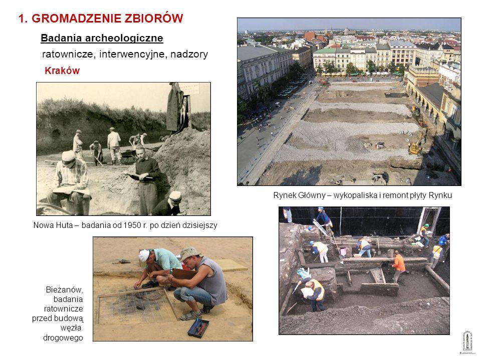 ratownicze, interwencyjne, nadzory Kraków 1. GROMADZENIE ZBIORÓW Badania archeologiczne Nowa Huta – badania od 1950 r. po dzień dzisiejszy Bieżanów, b