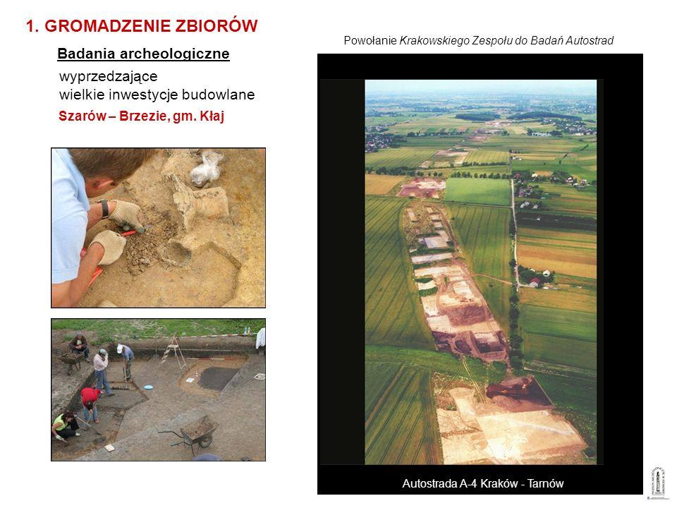 wyprzedzające wielkie inwestycje budowlane Szarów – Brzezie, gm. Kłaj 1. GROMADZENIE ZBIORÓW Badania archeologiczne Powołanie Krakowskiego Zespołu do