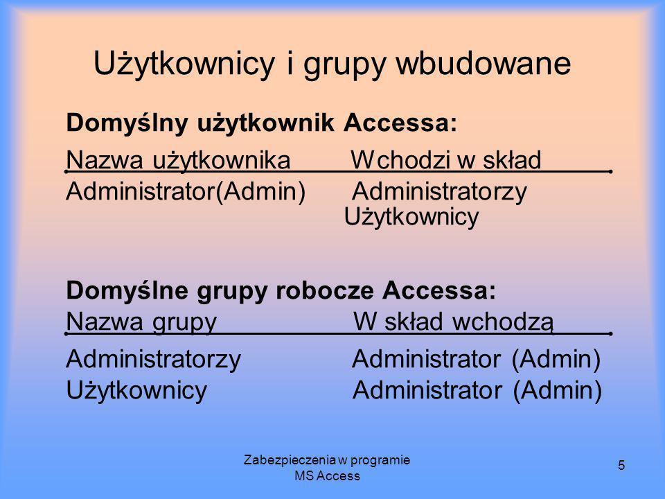 Zabezpieczenia w programie MS Access 5 Użytkownicy i grupy wbudowane Domyślny użytkownik Accessa: Nazwa użytkownika Wchodzi w skład Administrator(Admi
