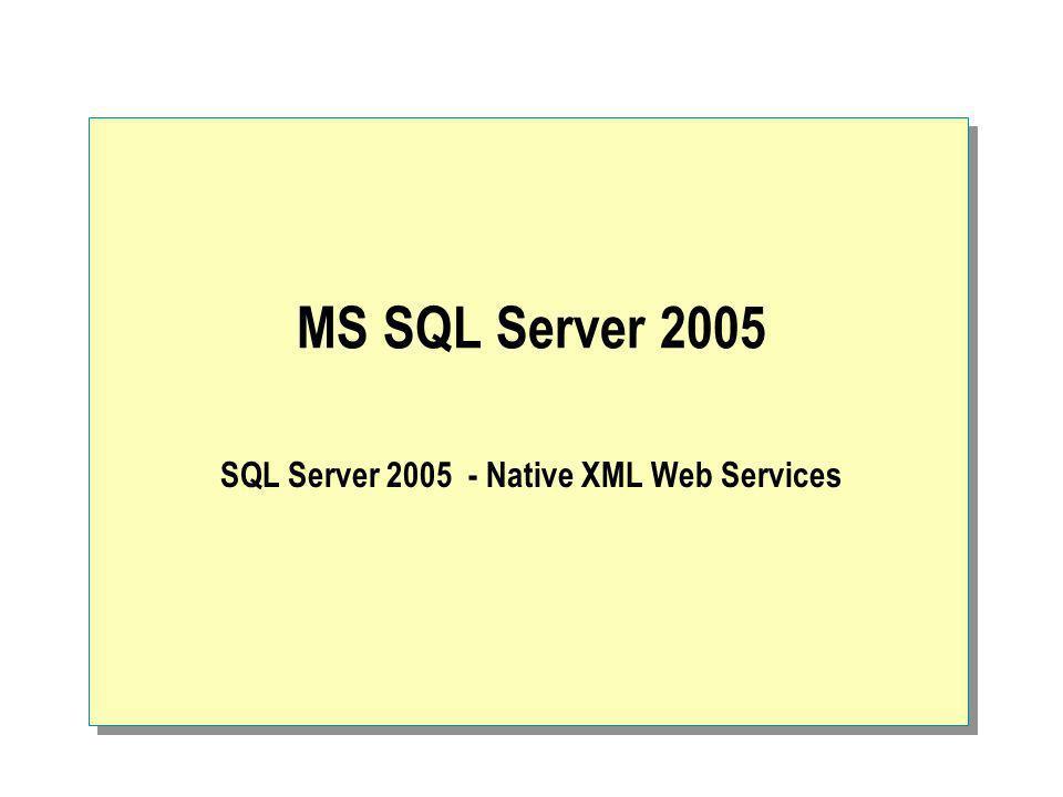 Sposób dostępu do bazy danych Przed MS SQL Server 2005 – Tabular Data Stream (TDS) MS SQL Server 2005 – SOAP via HTTP Język T-SQL z wykorzystaniem parametrów Procedury składowane, rozszerzone procedury, funkcje użytkownika