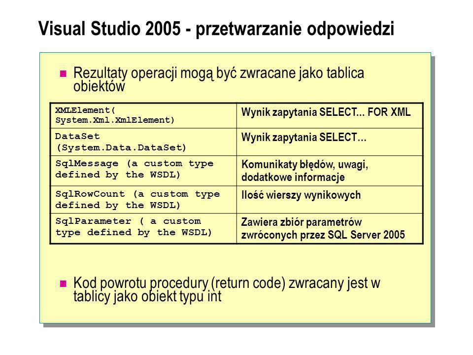 Visual Studio 2005 - przetwarzanie odpowiedzi Rezultaty operacji mogą być zwracane jako tablica obiektów Kod powrotu procedury (return code) zwracany