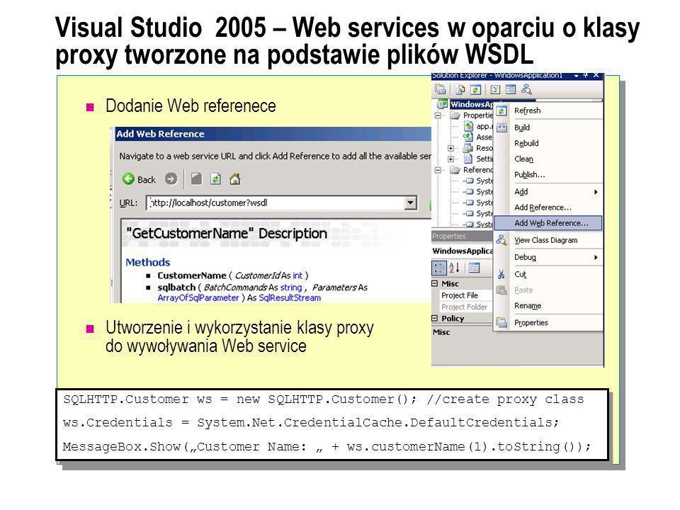Visual Studio 2005 – Web services w oparciu o klasy proxy tworzone na podstawie plików WSDL Dodanie Web referenece Utworzenie i wykorzystanie klasy pr