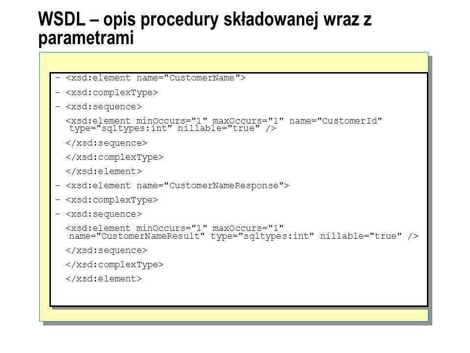 Visual Studio 2005 – wykorzystanie Native XML Web services Pobranie web referencji do udostępnionego serwisu (plik WSDL) Utworzenie klasy proxy Web service Klasa proxy udostępnia te wszystkie metody, które zdefiniowane zostały dla ENDPOINTu Jeśli ENDPOINT zezwala na wykonywanie zapytań ad hoc udostępniona jest również metoda sqlbatch Klient wysyła do SQL Server 2005 komunikat SOAP SQL Server zwraca wynik żądanej metody do klienta