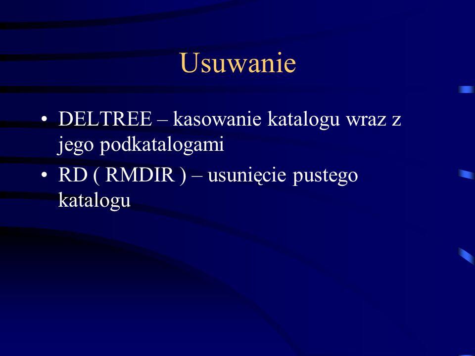 Dodatkowe komendy COMMAND – uruchomienie wczytywanie nowego procesora poleceń DIR – wyświetlenie zawartości katalogu EXIT – wyjście z systemu DOS FIND – wyszukiwanie katalogów lub plików TREE – wyświetlenie drzewka katalogu lub dysku