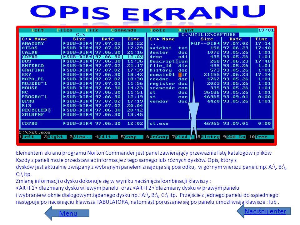Elementem ekranu programu Norton Commander jest panel zawierający przeważnie listę katalogów i plików Każdy z paneli może przedstawiać informacje z te