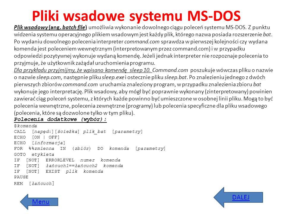 Plik wsadowy (ang. batch file) umożliwia wykonanie dowolnego ciągu poleceń systemu MS-DOS. Z punktu widzenia systemu operacyjnego plikiem wsadowym jes