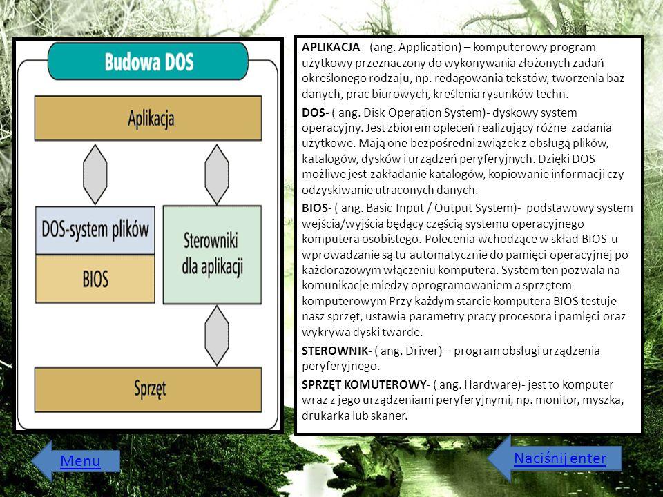APLIKACJA- (ang. Application) – komputerowy program użytkowy przeznaczony do wykonywania złożonych zadań określonego rodzaju, np. redagowania tekstów,