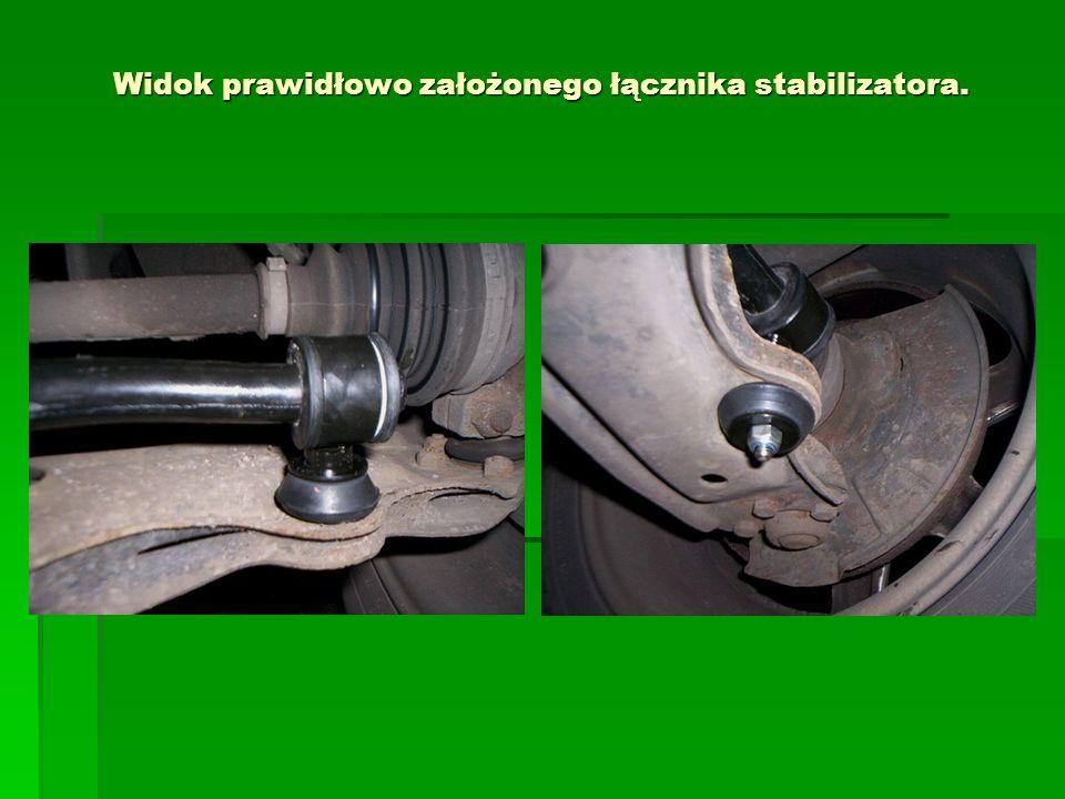 Widok prawidłowo założonego łącznika stabilizatora.
