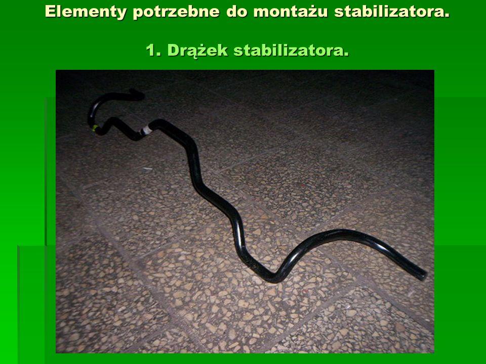 Elementy potrzebne do montażu stabilizatora. 1. Drążek stabilizatora.
