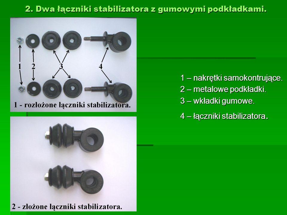 2. Dwa łączniki stabilizatora z gumowymi podkładkami. 1 – nakrętki samokontrujące. 2 – metalowe podkładki. 3 – wkładki gumowe. 4 – łączniki stabilizat