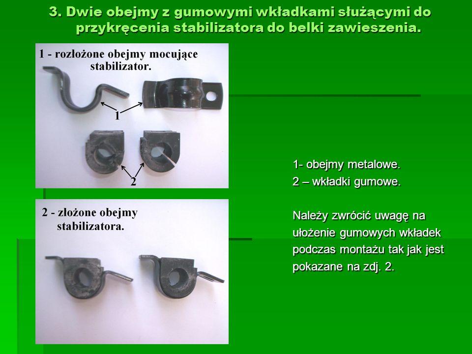 3. Dwie obejmy z gumowymi wkładkami służącymi do przykręcenia stabilizatora do belki zawieszenia. 1- obejmy metalowe. 2 – wkładki gumowe. Należy zwróc