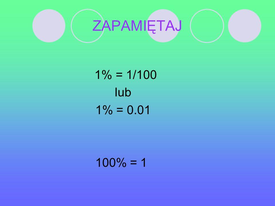 Zadanie 3 Podaj, ile to procent: Połowa Półtora Całość Ćwierć Dwukrotność 50% 150% 100% 25% 200%