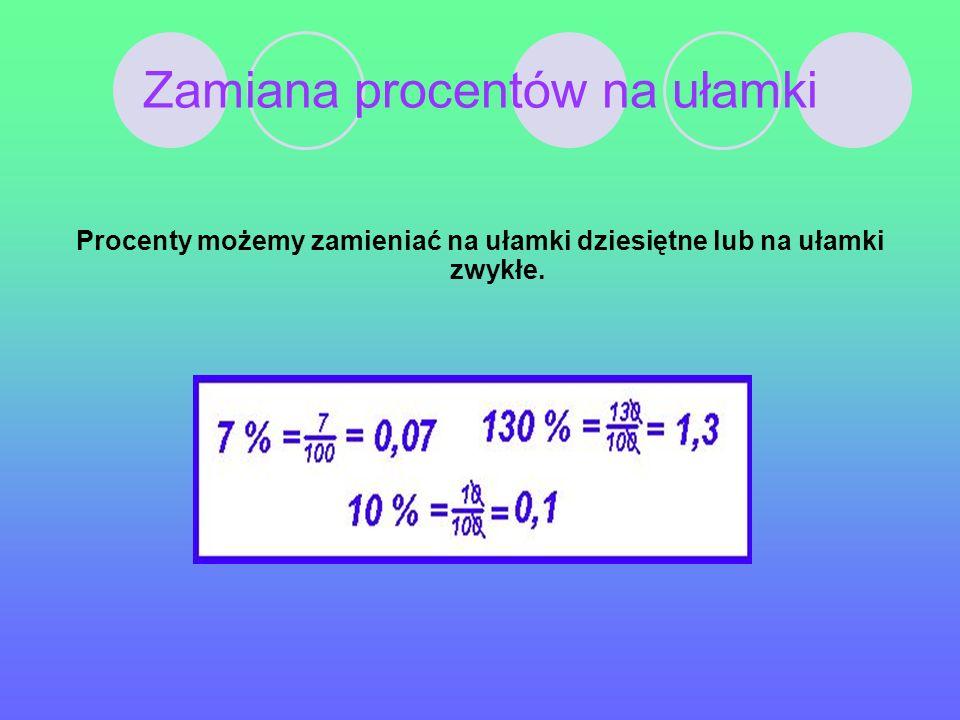 Zamiana procentów na ułamki Procenty możemy zamieniać na ułamki dziesiętne lub na ułamki zwykłe.
