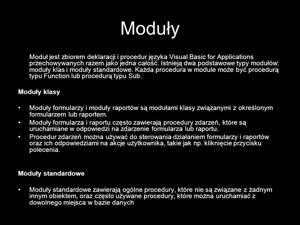 9 Procedury Procedura jest jednostką kodu języka Visual Basic for Applications.