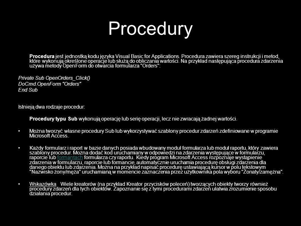 20 Raporty Wykonanie raportu - Tworzenie raportu: zdefiniowanie zapytania użycie kreatora raportów utworzenie/modyfikacja grupowania i sortowania modyfikacja wyglądu raportu modyfikacja własności raportu i pól oprogramowanie zdarzeń raportu Części raportu: nagłówek i stopka raportu nagłówek i stopka strony nagłówek i stopka grupy Grupy i sortowanie: dane podzielone wg hierarchii grup sortowanie określone w ramach każdej grupy (nie obowiązuje sortowanie z zapytania!)