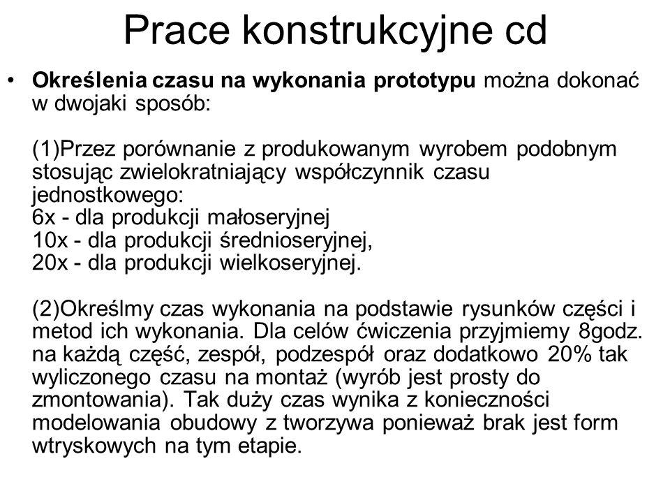 Prace konstrukcyjne cd Określenia czasu na wykonania prototypu można dokonać w dwojaki sposób: (1)Przez porównanie z produkowanym wyrobem podobnym sto