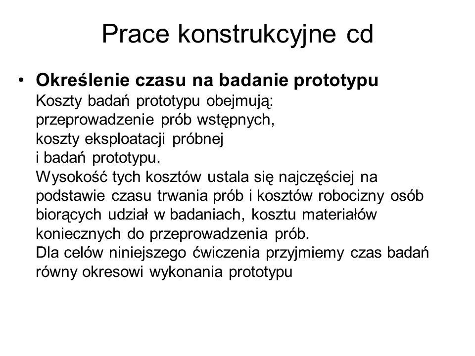 Prace konstrukcyjne cd Określenie czasu na badanie prototypu Koszty badań prototypu obejmują: przeprowadzenie prób wstępnych, koszty eksploatacji prób