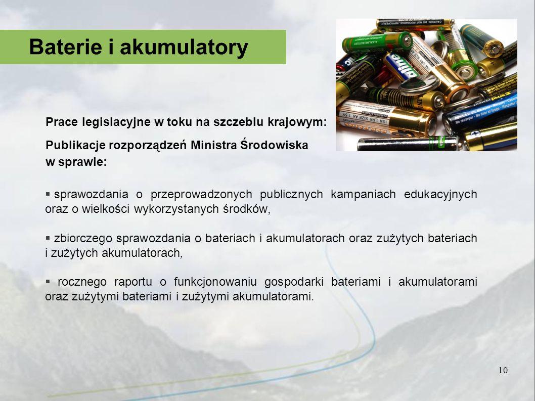 Prace legislacyjne w toku na szczeblu krajowym: Publikacje rozporządzeń Ministra Środowiska w sprawie: sprawozdania o przeprowadzonych publicznych kam