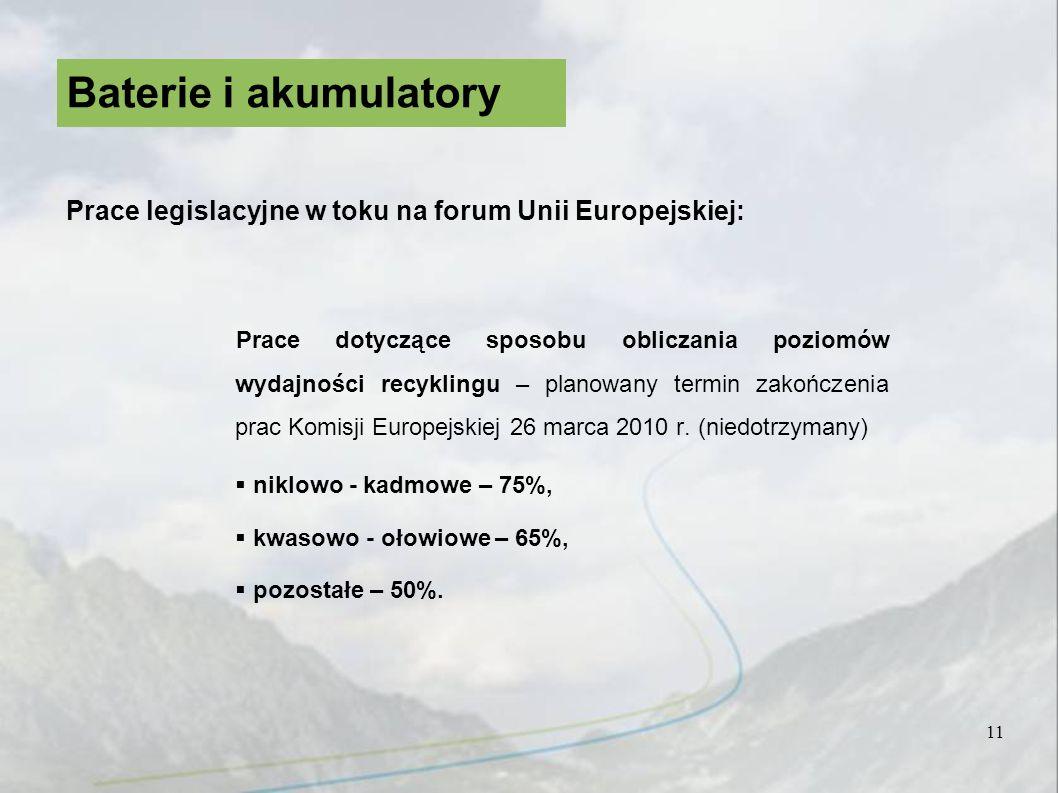 Prace dotyczące sposobu obliczania poziomów wydajności recyklingu – planowany termin zakończenia prac Komisji Europejskiej 26 marca 2010 r. (niedotrzy