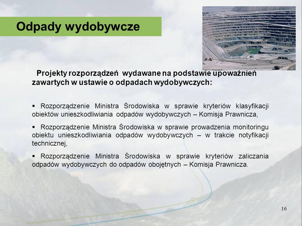 Projekty rozporządzeń wydawane na podstawie upoważnień zawartych w ustawie o odpadach wydobywczych: Rozporządzenie Ministra Środowiska w sprawie kryte
