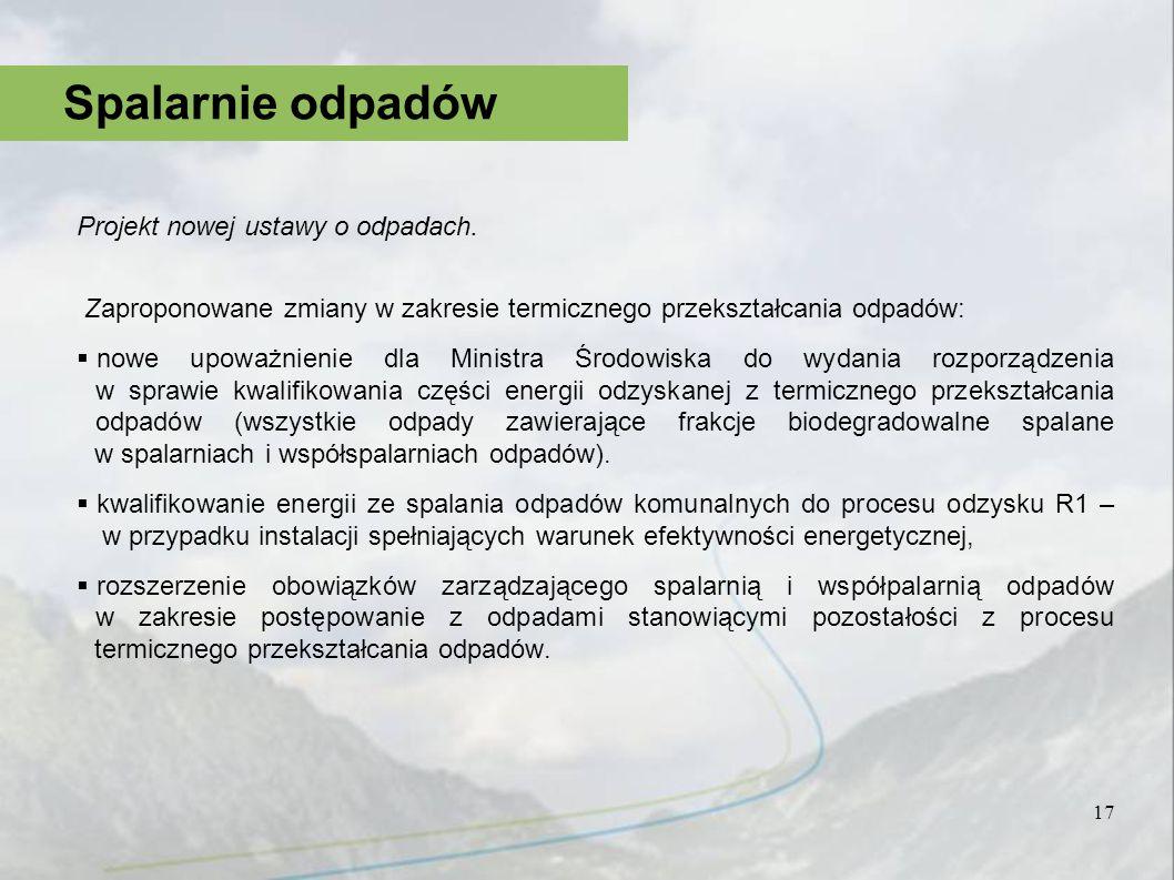 Projekt nowej ustawy o odpadach. Zaproponowane zmiany w zakresie termicznego przekształcania odpadów: nowe upoważnienie dla Ministra Środowiska do wyd