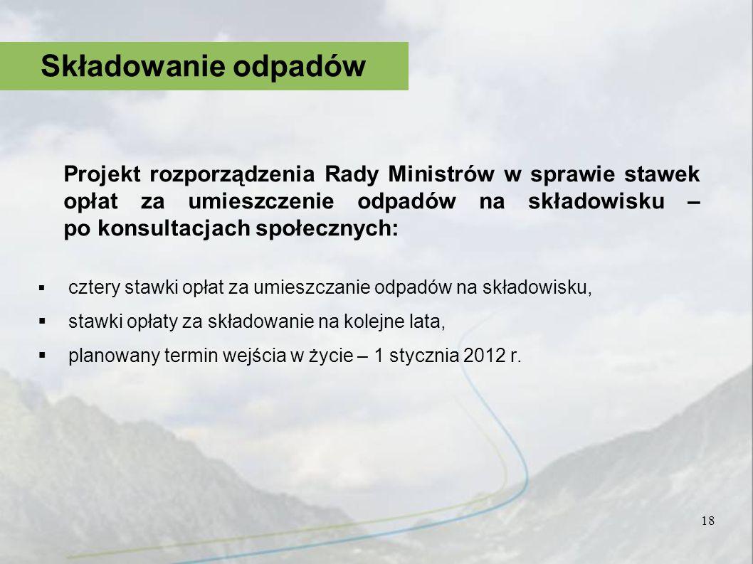 Projekt rozporządzenia Rady Ministrów w sprawie stawek opłat za umieszczenie odpadów na składowisku – po konsultacjach społecznych: cztery stawki opła