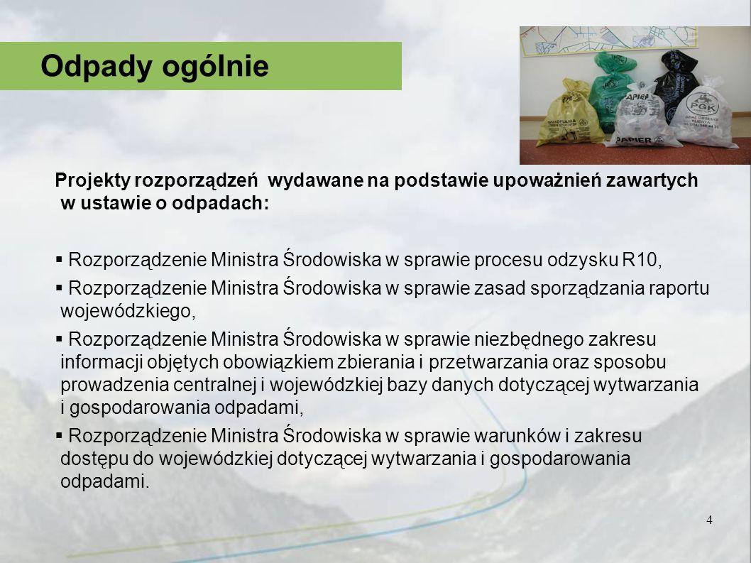 4 Odpady ogólnie Projekty rozporządzeń wydawane na podstawie upoważnień zawartych w ustawie o odpadach: Rozporządzenie Ministra Środowiska w sprawie p