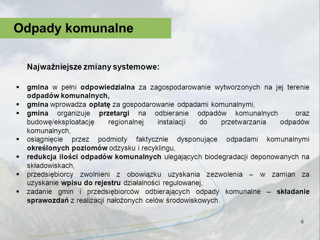 Najważniejsze zmiany systemowe: gmina w pełni odpowiedzialna za zagospodarowanie wytworzonych na jej terenie odpadów komunalnych, gmina wprowadza opła