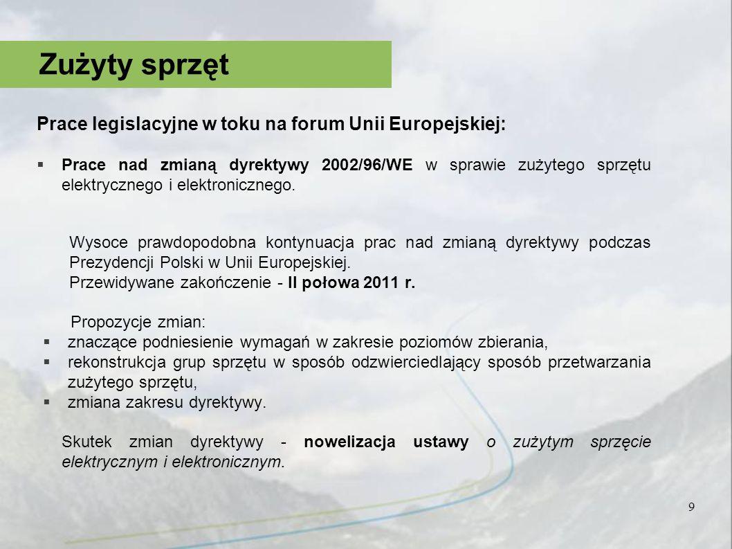 Prace legislacyjne w toku na forum Unii Europejskiej: Prace nad zmianą dyrektywy 2002/96/WE w sprawie zużytego sprzętu elektrycznego i elektronicznego