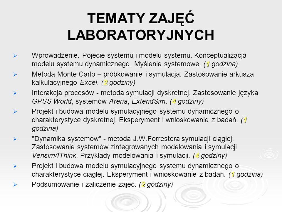 TEMATY ZAJĘĆ LABORATORYJNYCH Wprowadzenie. Pojęcie systemu i modelu systemu. Konceptualizacja modelu systemu dynamicznego. Myślenie systemowe. (1 godz
