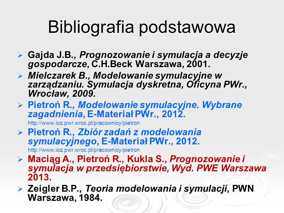 Bibliografia podstawowa Gajda J.B., Prognozowanie i symulacja a decyzje gospodarcze, C.H.Beck Warszawa, 2001. Gajda J.B., Prognozowanie i symulacja a