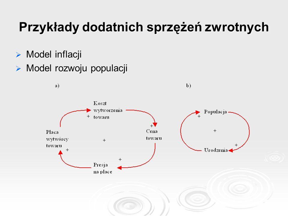 Przykłady dodatnich sprzężeń zwrotnych Model inflacji Model inflacji Model rozwoju populacji Model rozwoju populacji