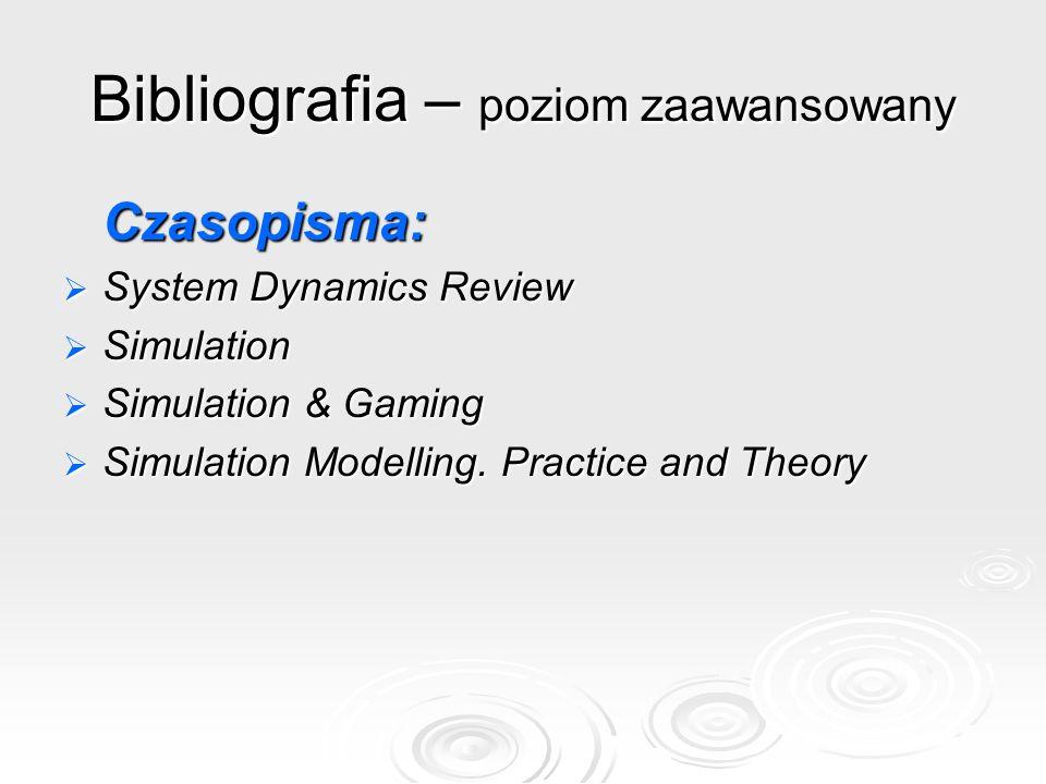 Bibliografia – poziom zaawansowany Czasopisma: System Dynamics Review System Dynamics Review Simulation Simulation Simulation & Gaming Simulation & Ga