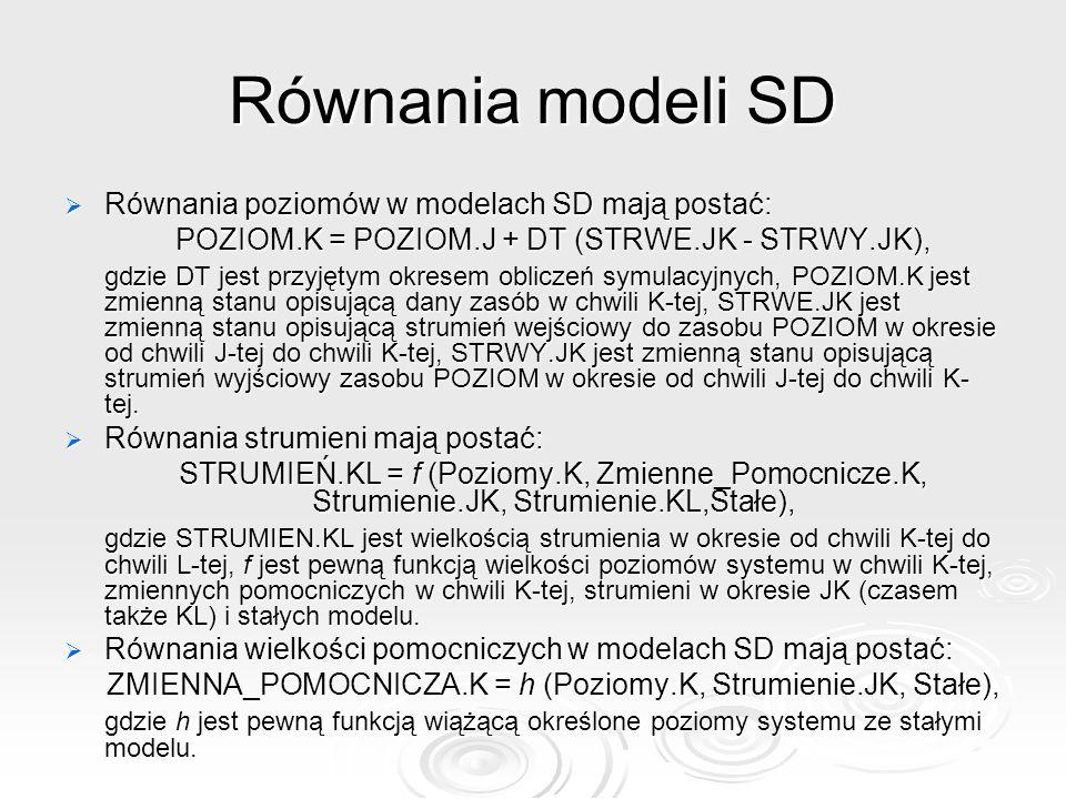 Równania modeli SD Równania poziomów w modelach SD mają postać: Równania poziomów w modelach SD mają postać: POZIOM.K = POZIOM.J + DT (STRWE.JK - STRW