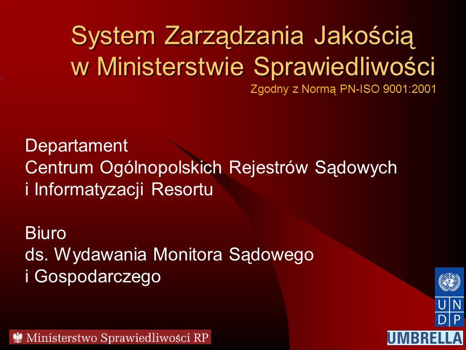 System Zarządzania Jakością w Ministerstwie Sprawiedliwości Departament Centrum Ogólnopolskich Rejestrów Sądowych i Informatyzacji Resortu Biuro ds. W