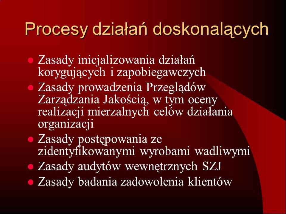 Procesy działań doskonalących Zasady inicjalizowania działań korygujących i zapobiegawczych Zasady prowadzenia Przeglądów Zarządzania Jakością, w tym